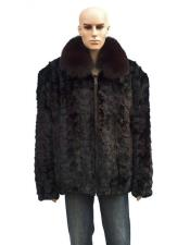 GD865 Mens Fur Burgundy Front Paws Jacket with Fox