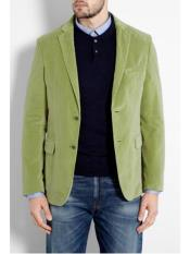JSM302 Mens Mint ~ Lime Green Velvet Blazer