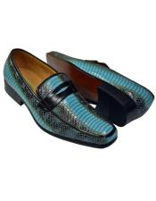 JSM-4613 Antonio Synthetic Fashion Turquoise Blue Python Snake Print