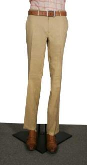 AA367 Modern Fit Flat Front Pants Tan khaki Color