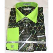 Mens Bold Black Green Circle