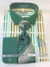 LightGreenDressShirtMensBoldStripeMultiPattern