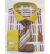 JSM-528 Mens Mustard Multi Bold Stripe Multi Pattern Cotton