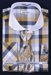 YP683 French Cuff Dress Shirt Set Bright Checker Mustard