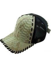 JSM-729 Genuine Ostrich Alligator Exotic Skin Natural Baseball Cap