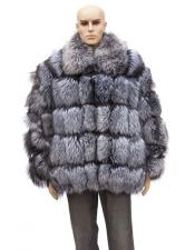 GD875 Mens Fur Natural Silver Full Skin Fox Jacket