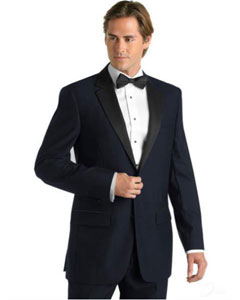 E-823 Midnight Navy Blue Shade Deville Tuxedo with Contrasting
