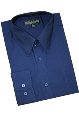 CG111 Navy Blue Shade Cotton Blend Dress Shirt With