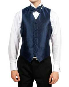 PN75 Navy Blue Shade Diamond Print 4-Piece Vest Set