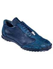 Mens Navy Blue Genuine Ostrich