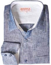 RM1826 Navy Blue Shade Linen Dress Shirt Online Sale