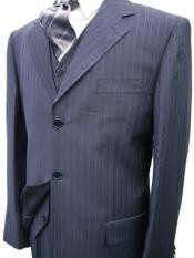 ZT300 Navy Blue Shade Pinstripe Superior Fabric 120s Wool