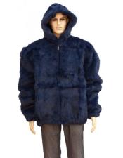 GD877 Mens Fur Navy Blue Full Skin Rabbit Pull
