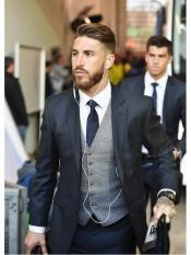 MO576 Navy Blue Suit With Grey Vest  Vested
