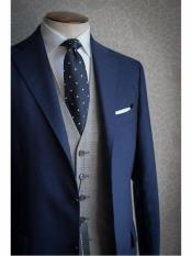MO578 Navy Blue Suit With Grey Vest  Vested