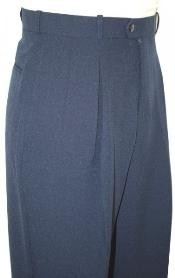 WE1393 Navy Blue Shade Wide Leg Slacks Pleated Slacks