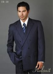 AX421 Navy Blue Shade Suit With Smooth Stripe ~