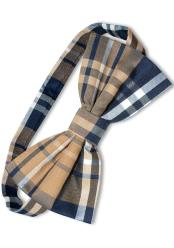 JSM-4022 Mens Plaid Pattern Navy/Brown/White Polyester  Tuxedo Bowtie