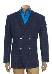 JSM-5222 Mens Checked Pattern Peak Lapel Double Breasted Navy