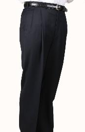 Navy Parker Pleated Slacks Pants