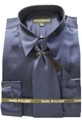 UG323 New Navy Satin Dress Shirt Tie Combo Shirts