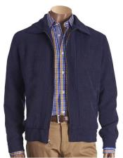 JSM-5447 Mens Navy Chenille Short jacket with knit trim