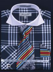 NP382 French Cuff Dress Shirt Set Deep Checker Navy