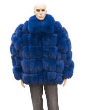 GD876 Mens Fur Navy Blue Full Skin Fox Jacket