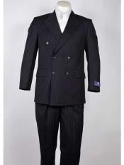 SM1010 Double Breasted Navy Pinstripe 6 Button Slim narrow