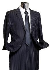 Navy Wide Pinstripe 2 Button