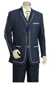 KA8711 Navy Three Button 1940s Mens Suits Style