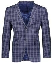 Slim Fit Navy Plaid ~