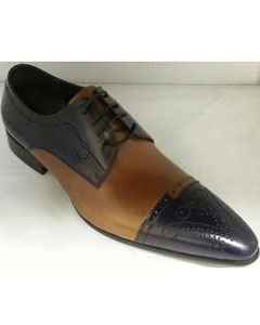 SM924 Leather Footwear Unique Hand Stitching Navy/Tan khaki Color