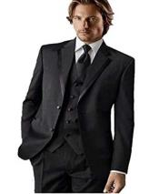 Black Groomsman Classic Fit Tuxedo Vested Suit