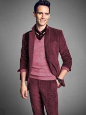Mens Notch Lapel Velvet Burgundy CORDUROY