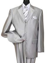 JSM-572 Mens 3 Button Silver Notch Lapel Shiny Sharkskin