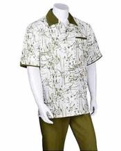 SM1064 2 Piece Set Olive trendy casual Short Sleeve