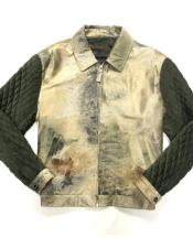 AP680 Olive/Cream Quilted Pony Hair Zipper Closure Bomber Jacket