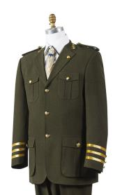MK528 Canto Olive Military Style Pocket Fashion Suit for