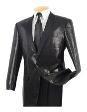 Mens Sequin 1 Button Black