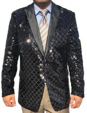 Mens Black Sequin ~ Unique Shiny Fashion Prom ~