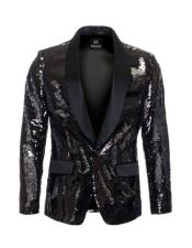 CH2080 Mens high fashion Black ~ Silver sequin blazer