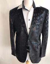 CH2257 Mens Black sequin One Button jacket Snakeskin print
