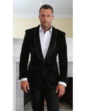 MZV-416 Mens black velvet tuxedo Modern Fit suit jacket