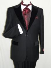 QWC2 Liquid Jet Black Wool Fabric Formal Tuxedo Suit