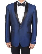 AP641 Mens Blue 1 Button Tuxedo Solid Pattern Super