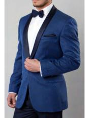 JSM-188 Mens Blue 1 Button Tuxedo Slim Fit Blazer