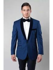 JSM-189 Mens Deep Blue 1 Button Two Tone Velvet