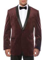 1 Button Burgundy Shawl Lapel