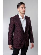 JSM-2253 1 Button Single Breasted Notch Lapel Pattern Jacket